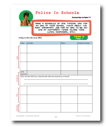 Activity sheets for School Resource Officers